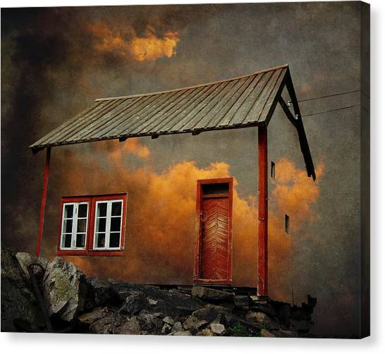 Surreal Canvas Print - House In The Clouds by Sonya Kanelstrand