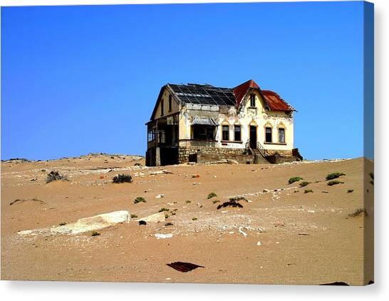 House In The Desert Canvas Print by Riana Van Staden