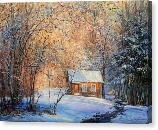 House In The Winter Forest  Canvas Print