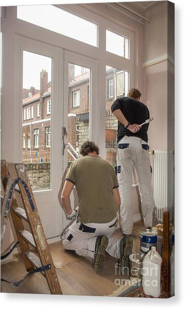 It Professional Canvas Print - House Painters At Work by Patricia Hofmeester