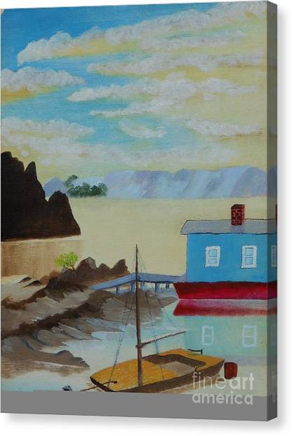 Houseboat Harbor Canvas Print