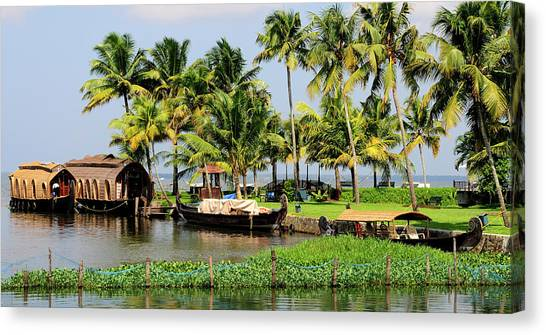 Bayous Canvas Print - Houseboats Docked Along Shore by Steve Roxbury
