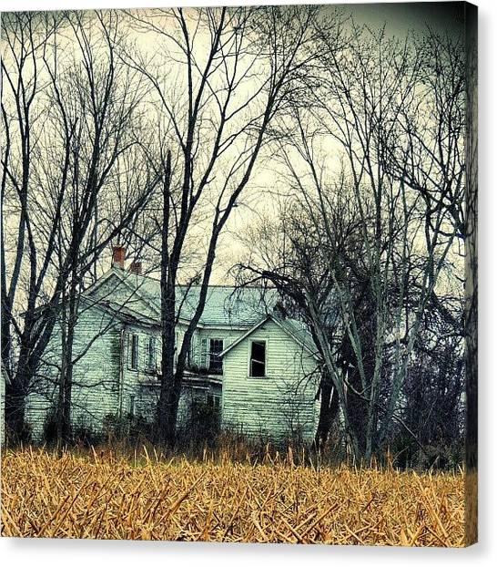 Farmhouse Canvas Print - #houseportrait #old #abandoned by Krazy Alice
