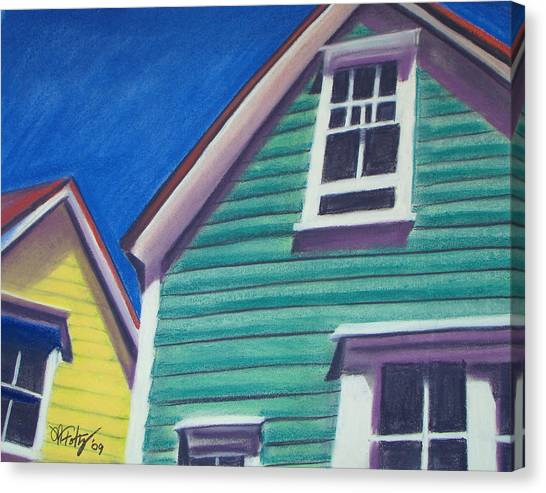 Houses Green And Yellow Canvas Print
