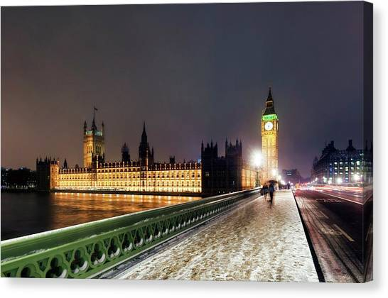 Palace Of Westminster Canvas Print - Houses Of Parliament And Big Ben by Daniel Sambraus/science Photo Library