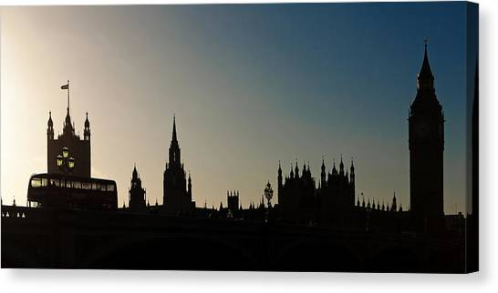 Palace Of Westminster Canvas Print - Houses Of Parliament Skyline In Silhouette by Susan Schmitz