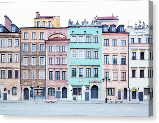 Houses On Old Town Market Place Canvas Print by Jorg Greuel