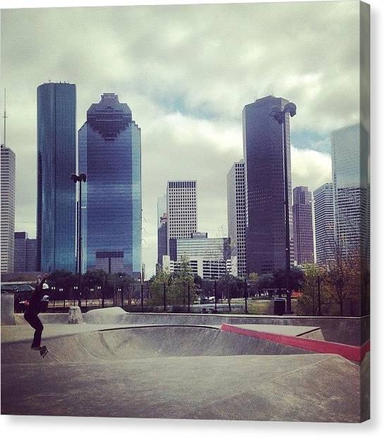 Houston Skyline Canvas Print - Houston - Tx #texas #houston by Mela Perbey