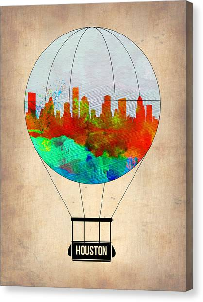 Houston Skyline Canvas Print - Houston Air Balloon by Naxart Studio