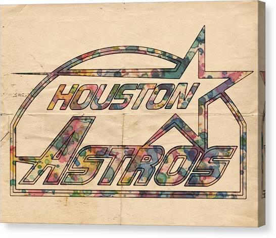 Houston Astros Canvas Print - Houston Astros Vintage Art by Florian Rodarte