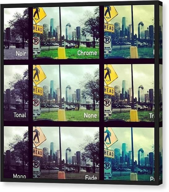 Houston Skyline Canvas Print - #houston #downtown #htx #skyline by Julie Christine