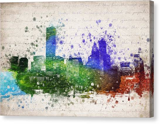 Houston Skyline Canvas Print - Houston In Color by Aged Pixel