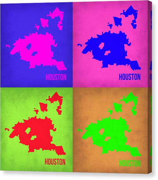 Houston Canvas Print - Houston Pop Art Map 1 by Naxart Studio