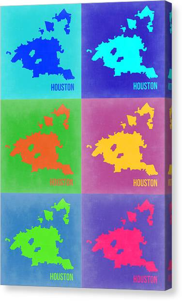 Houston Canvas Print - Houston Pop Art Map 3 by Naxart Studio