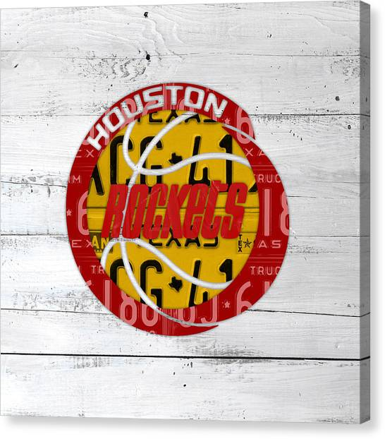 Houston Rockets Canvas Print - Houston Rockets Basketball Team Retro Logo Vintage Recycled Texas License Plate Art by Design Turnpike