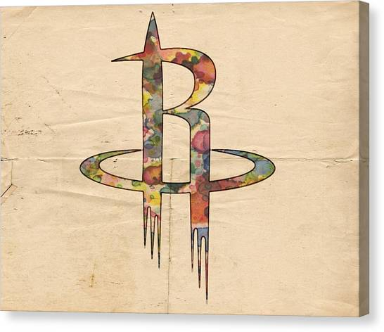 Houston Rockets Canvas Print - Houston Rockets Logo Art by Florian Rodarte