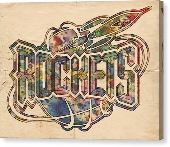 Houston Rockets Canvas Print - Houston Rockets Retro Poster by Florian Rodarte