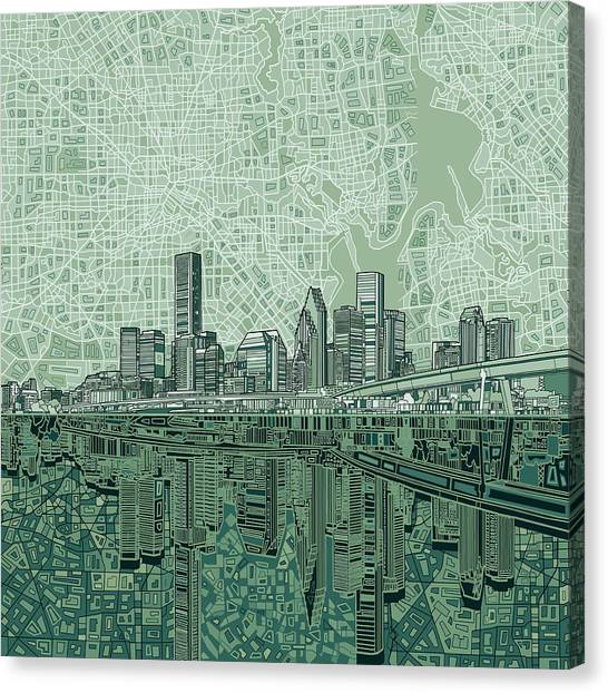 Houston Canvas Print - Houston Skyline Abstract 2 by Bekim Art