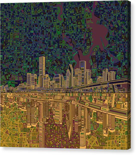 Houston Skyline Canvas Print - Houston Skyline Abstract 6 by Bekim Art