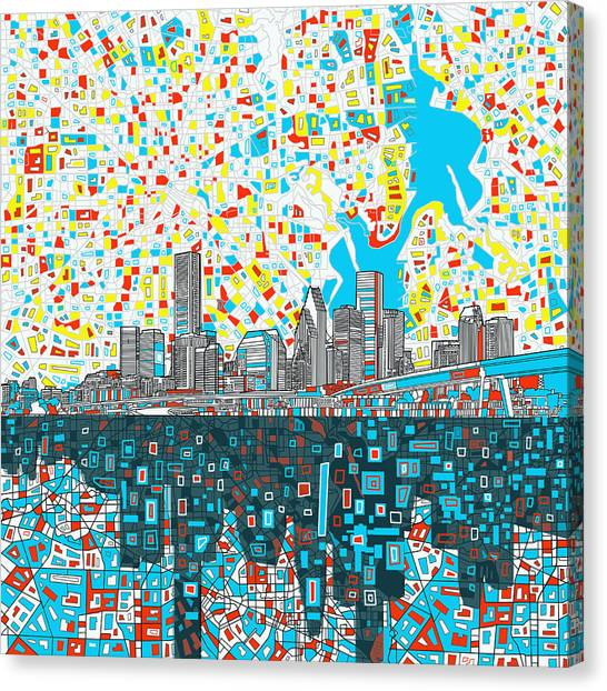 Houston Skyline Canvas Print - Houston Skyline Abstract 8 by Bekim Art