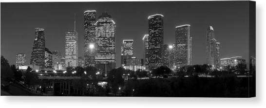 Houston Skyline Canvas Print - Houston Skyline At Night Black And White Bw by Jon Holiday
