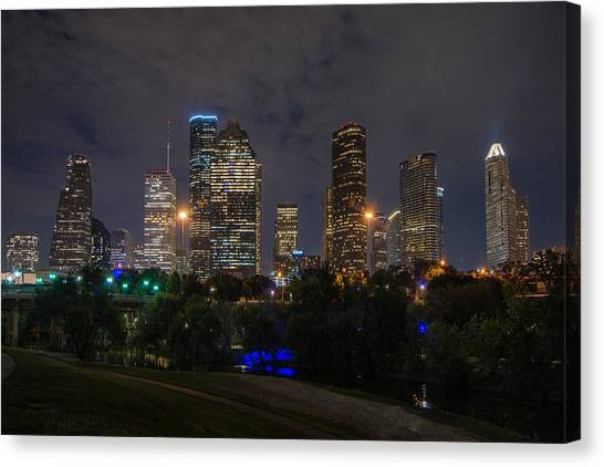 Houston Skyline At Night Canvas Print
