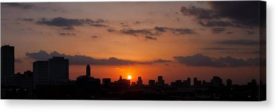 Houston Skyline At Sunset Canvas Print
