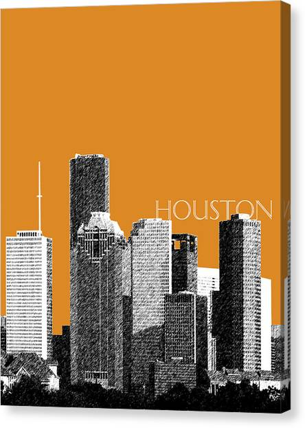 Houston Skyline Canvas Print - Houston Skyline - Dark Orange by DB Artist