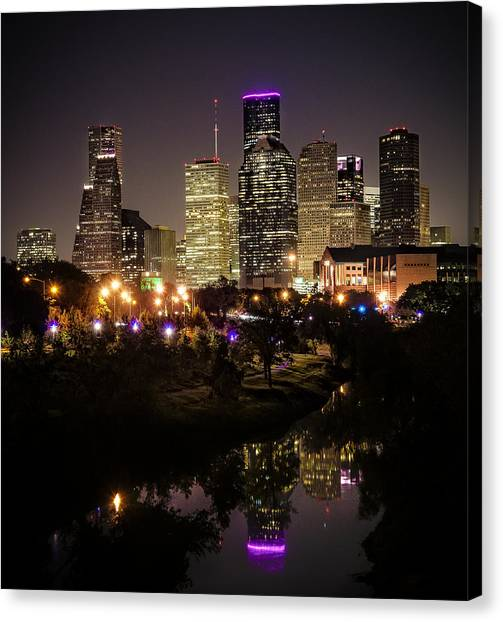 Houston Skyline From Buffalo Bayou Canvas Print