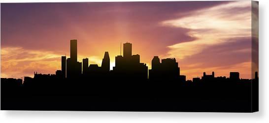 Houston Skyline Canvas Print - Houston Skyline Panorama Sunset by Aged Pixel