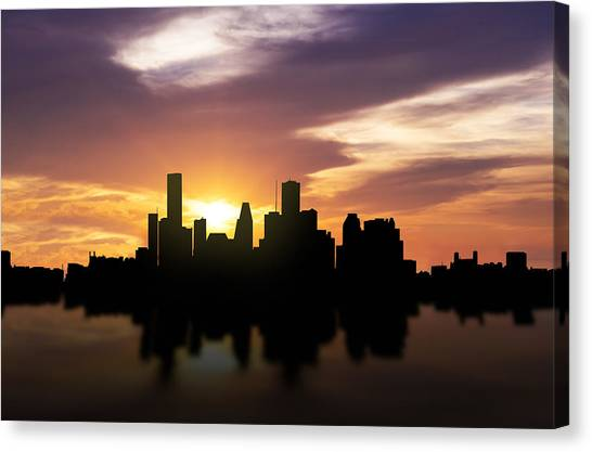 Houston Skyline Canvas Print - Houston Sunset Skyline  by Aged Pixel