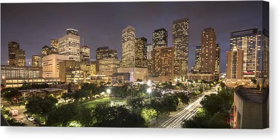 Houston Texas Skyline Panorama Canvas Print by Pgiam