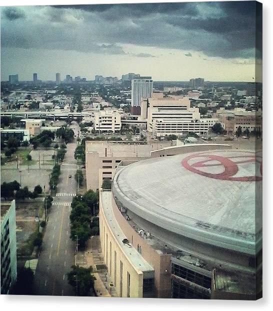 Houston Skyline Canvas Print - #houston #toyotacenter #skyline by Cindy Cisneros