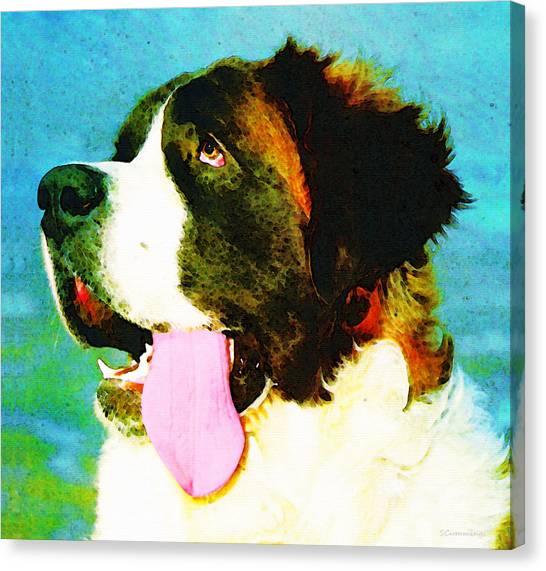 Buy Art Online Canvas Print - How Bout A Kiss - St Bernard Art By Sharon Cummings by Sharon Cummings