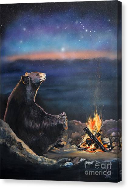 New Born Canvas Print - How Grandfather Bear Created The Stars by J W Baker