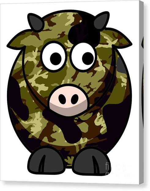 Green Camo Canvas Print - How Now Brown Camo Cow by Anne Kitzman
