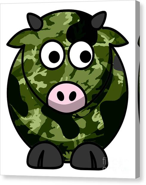 Green Camo Canvas Print - How Now Green Camo Cow by Anne Kitzman
