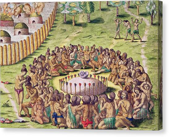 Buried Canvas Print - How The Chief Is Buried by Jacques Le Moyne