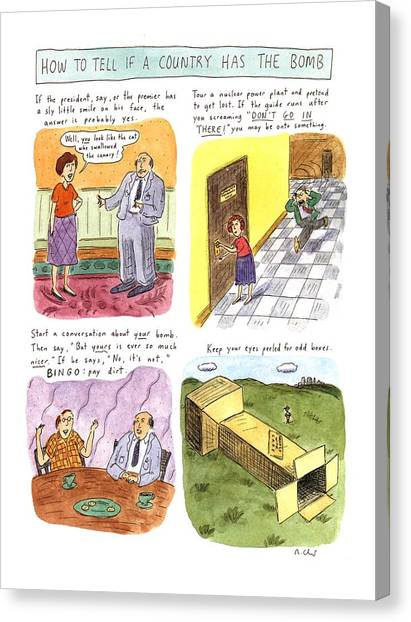 Sly Canvas Print - How To Tell If A Country Has The Bomb by Roz Chast