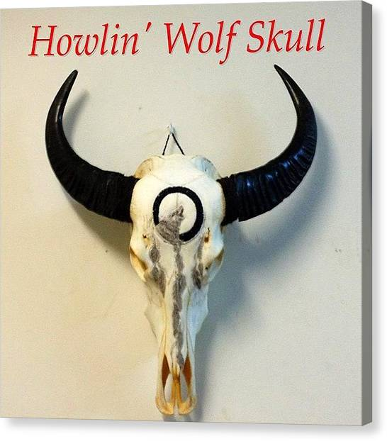 Gemstones Canvas Print - Howlin' Wolf Skull - Hand Carved, Hand by Shikoba Photography