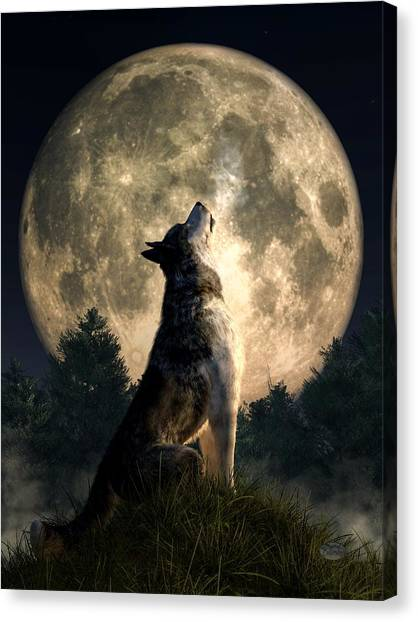 Howling Wolves Canvas Print - Howling Wolf by Daniel Eskridge