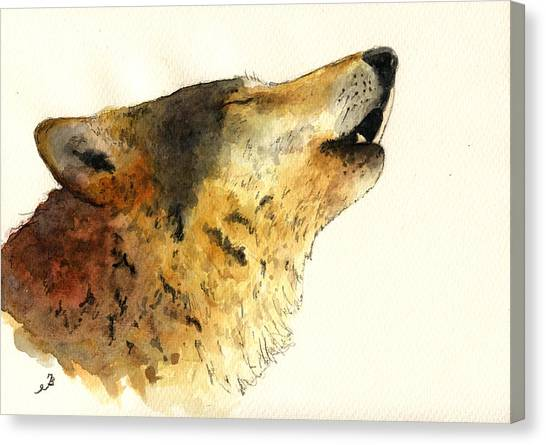 Howling Wolves Canvas Print - Howling Wolf. by Juan  Bosco