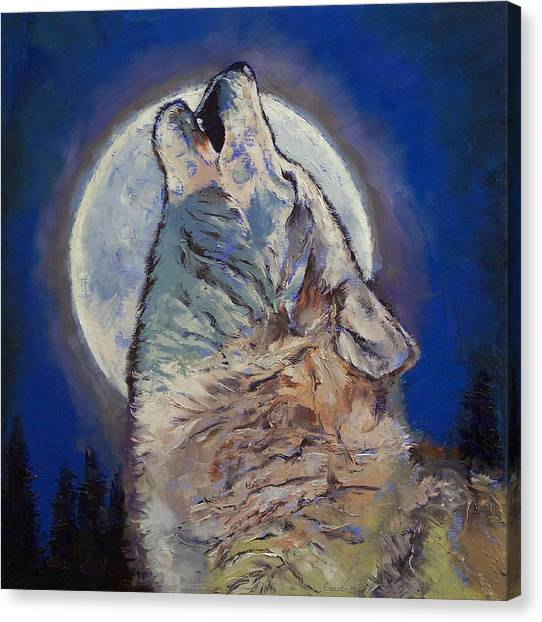 Howling Wolves Canvas Print - Howling Wolf by Michael Creese