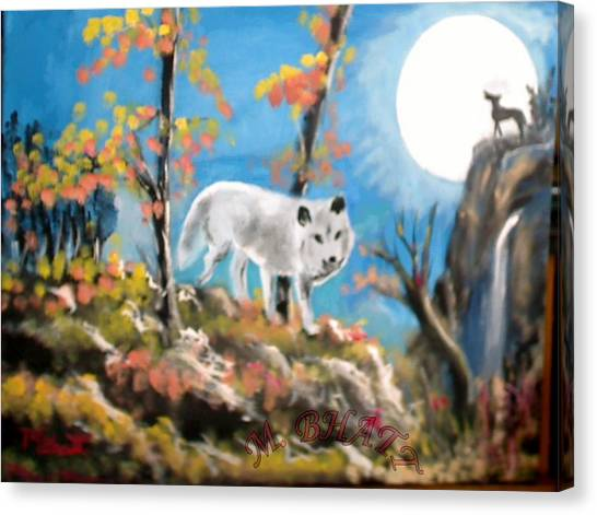 Howling Wolves Canvas Print by M Bhatt