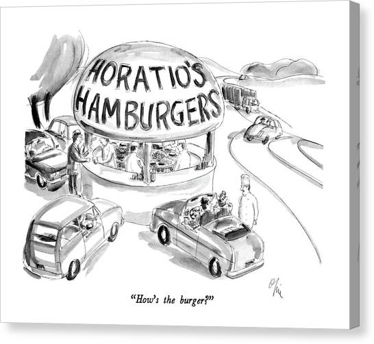 Fast Food Canvas Print - How's The Burger? by Everett Opie