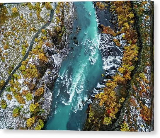 Hraunfossar, Waterfall, Iceland Canvas Print by Arctic-images