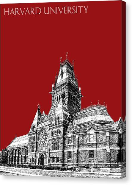 Harvard University Canvas Print - Harvard University - Memorial Hall - Dark Red by DB Artist