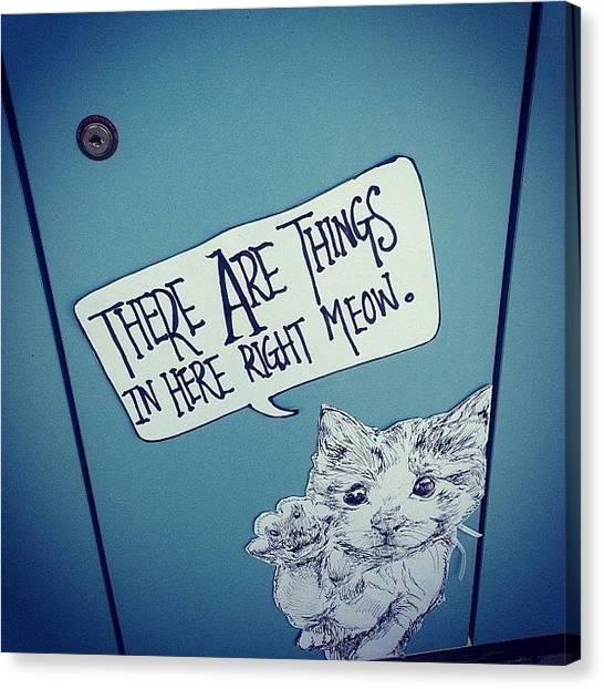 Liquor Canvas Print - @hsinn's Locker. Haha. #cute #cat by Elizabeth Gan