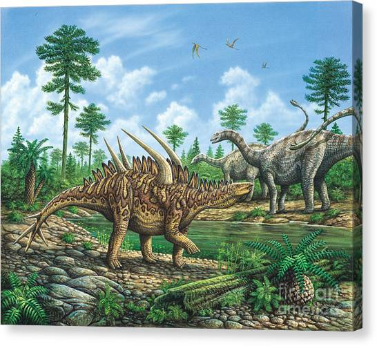 Huayangosaurus And Shunosaurus Canvas Print by Phil Wilson