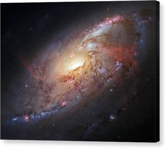 Hubble View Of M 106 Canvas Print